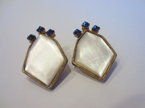 Art Deco Golden Earrings Clip On Geometric Cabochon MOP Blue Glass Gems