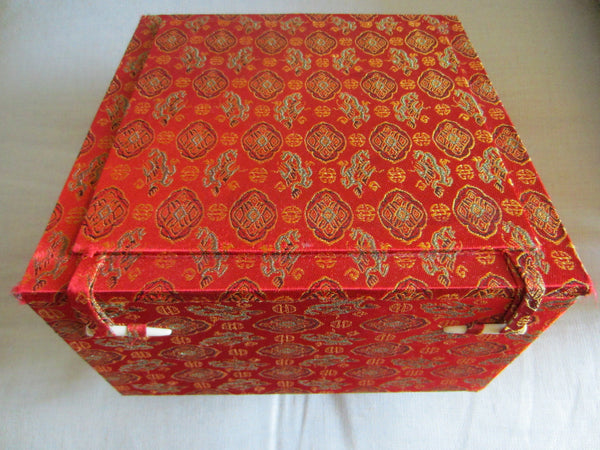 Asian Monogram Fabric Jewelry Box Silk Lined
