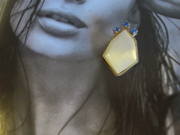 Art Deco Clip On Golden Earrings Geometric Cabochon MOP Blue Glass - Designer Unique Finds