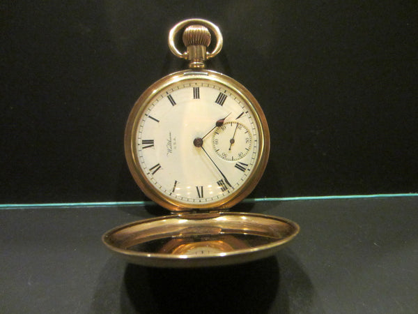 Waltham Hunter Pocket Watch Gold Marquis Triple Case Moon Face - Designer Unique Finds