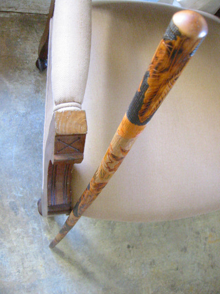 Folk Art Burl Wood Hand Carved Figurative Cane Walking Stick - Designer Unique Finds