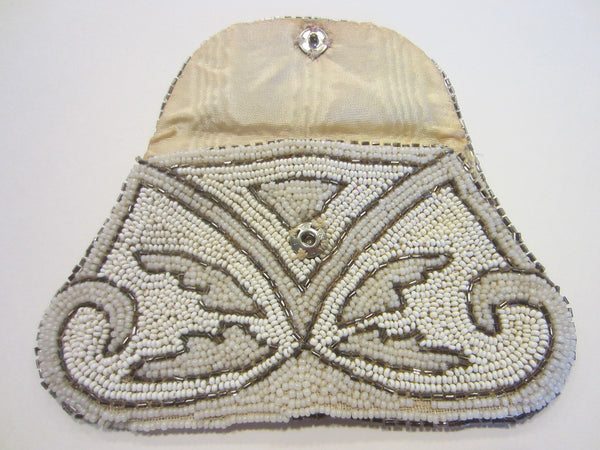 Art Deco Micro Beads Crochet Clutch Hand Made in France Beaded Handle - Designer Unique Finds