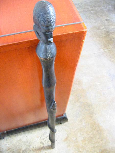 African Head Tribal Cane Hand Carved Snake Folk Art Walking Stick - Designer Unique Finds   - 1
