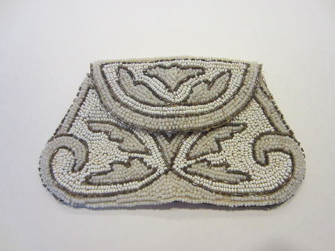 Art Deco Micro Beads Crochet Clutch Hand Made in France