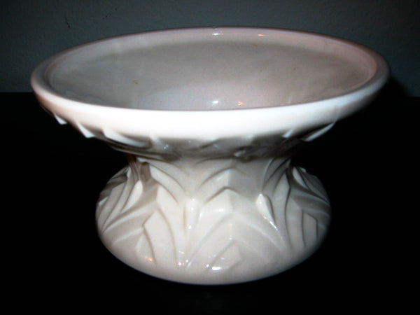Jeanette Feather Glass Pink Pedestal Bowl Majolica Decoration - Designer Unique Finds   - 1