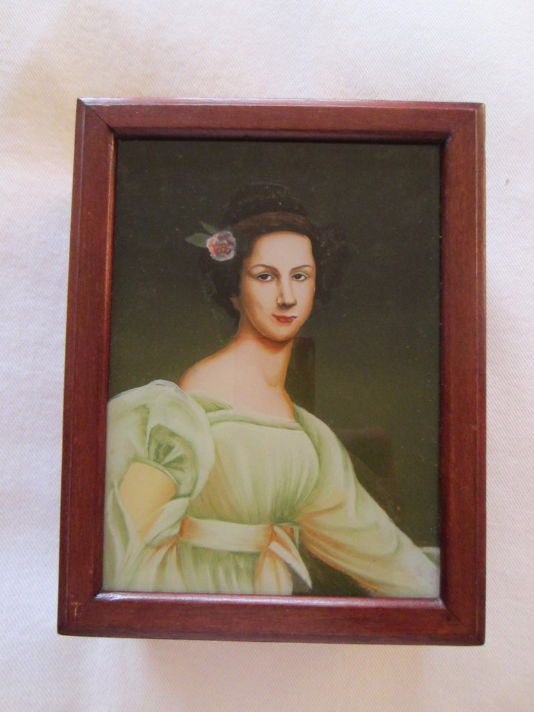 Victorian Style Portrait Reverse Glass Painting Mahogany Jewelry Box - Designer Unique Finds