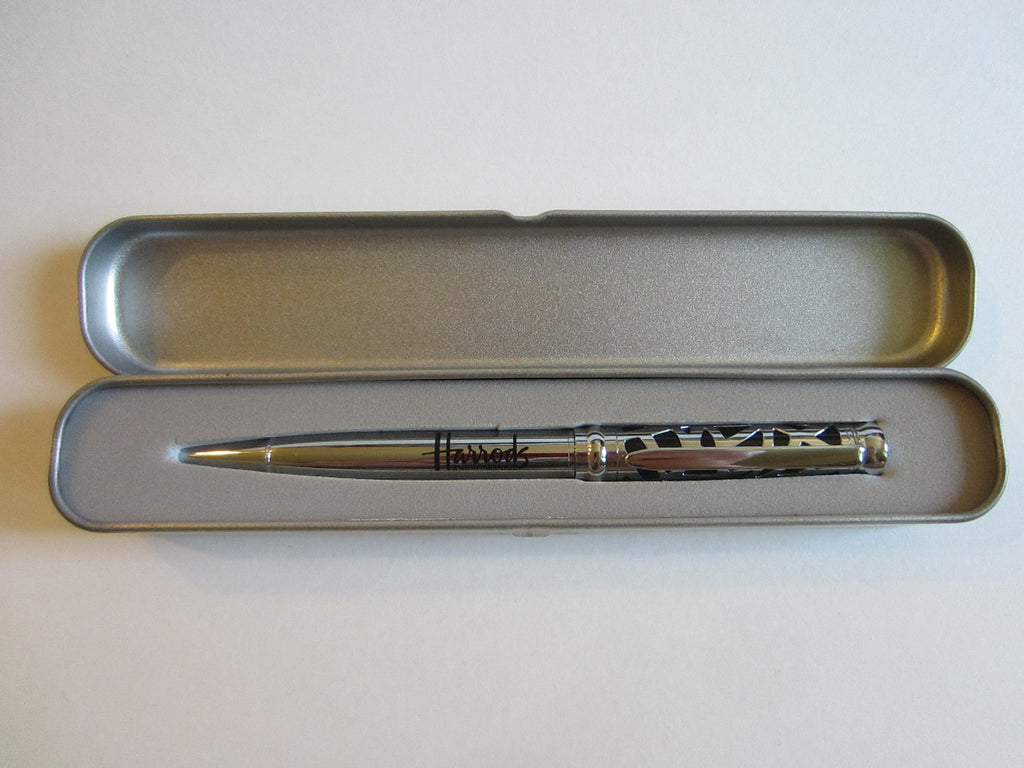 Harrods Nightsbridge England Cased Silver Metal Ball Pen - Designer Unique Finds