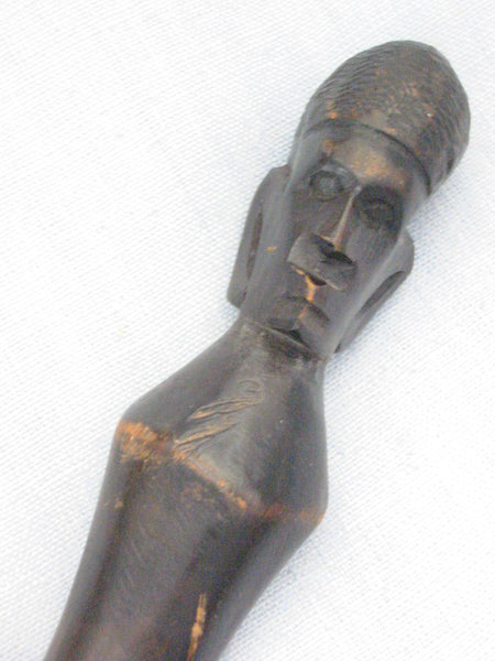 African Head Tribal Cane Hand Carved Snake Folk Art Walking Stick - Designer Unique Finds   - 2