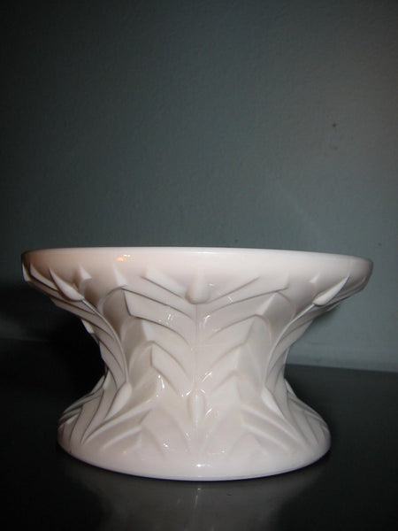 Jeanette Feather Glass Pink Pedestal Bowl Majolica Decoration - Designer Unique Finds   - 4