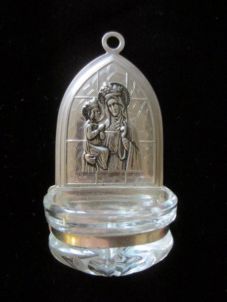 Holy Water Silver Glass Font Mary And Child Folk Art - Designer Unique Finds