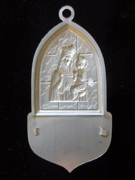 Holy Water Font Depression Glass Silver Mary And Child Wall Art - Designer Unique Finds   - 4