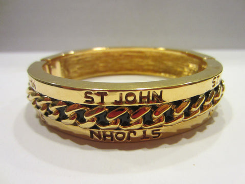 St John Golden Bangle Brass Designer Cuff Bracelet - Designer Unique Finds   - 1