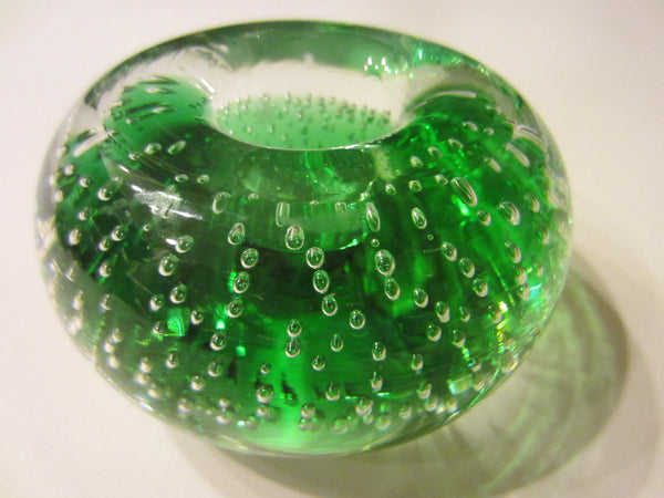Murano Controlled Bubbles Green Glass Candle Holders - Designer Unique Finds
