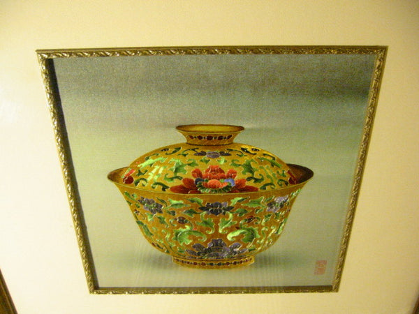Asian Golden Bowl Embroidered Silk Art Lotus Flowers Signed By Artist - Designer Unique Finds   - 6