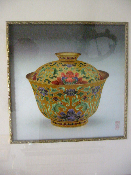 Asian Golden Bowl Embroidered Silk Art Lotus Flowers Signed By Artist - Designer Unique Finds   - 4