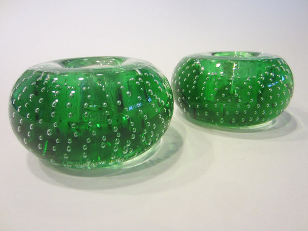 Murano Controlled Bubbles Green Glass Candle Holders