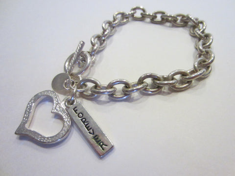 Silver Plated Chain Bracelet Forever Heart Charm Toggle Clasp
