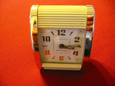 Westclox Roll Down Flip Back Hand Wind Lucite Travel Clock - Designer Unique Finds