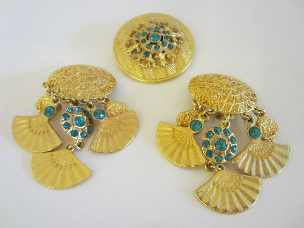 Blue Crystals Brass Brooch Dangling Earrings Eastern Inspire - Designer Unique Finds
