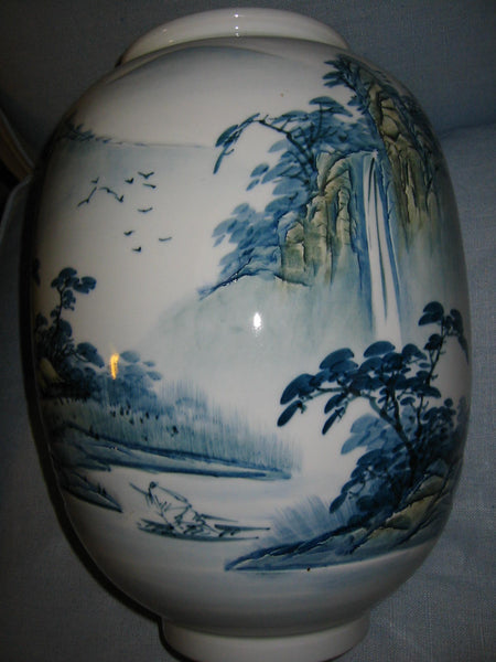 Baluster Scenic Porcelain Vase Japan Mountain Waterfalls Majolica Yellow Accent - Designer Unique Finds   - 4