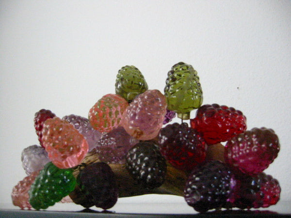 Retro Lucite Cluster Grapes Berries Folk Art Deco Drift Wood Stem - Designer Unique Finds   - 2
