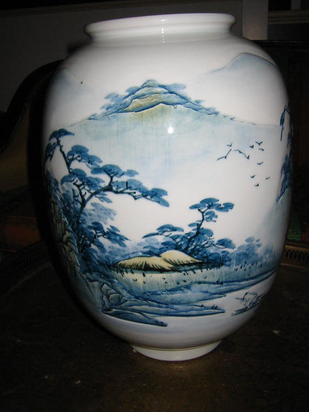 Baluster Scenic Porcelain Vase Japan Mountain Waterfalls Majolica Yellow Accent - Designer Unique Finds   - 3