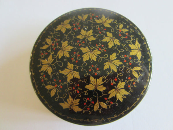Russian Miniature Lacquer Box Signed Painted Gold Berries - Designer Unique Finds   - 3