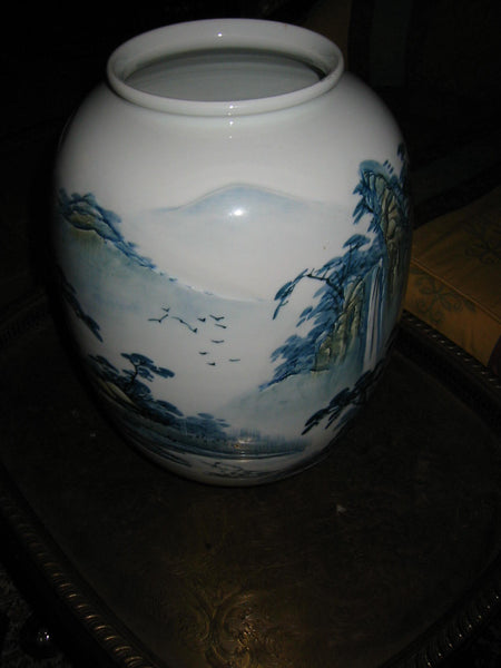 Baluster Scenic Porcelain Vase Japan Mountain Waterfalls Majolica Yellow Accent - Designer Unique Finds   - 6