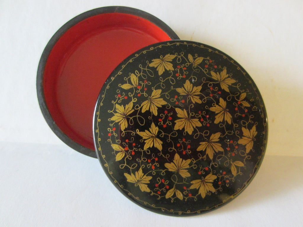 Russian Miniature Lacquer Box Signed Painted Gold Berries - Designer Unique Finds   - 1
