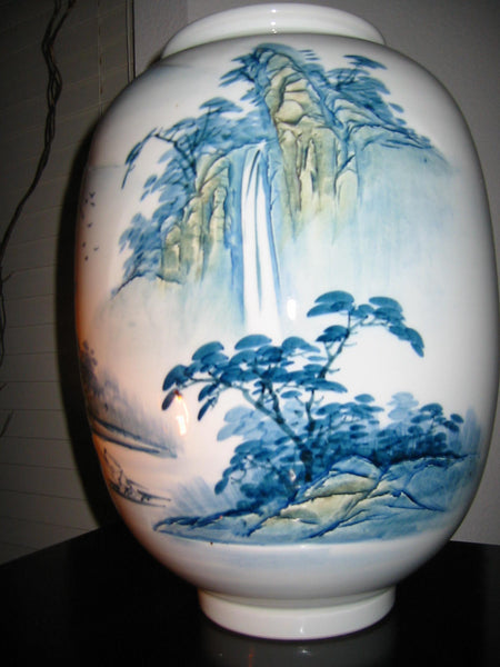 Baluster Scenic Porcelain Vase Japan Mountain Waterfalls Majolica Yellow Accent - Designer Unique Finds   - 1