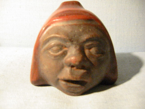 Chilean Ceramic Figure Head Terracotta Signature Portait Pottery - Designer Unique Finds   - 1