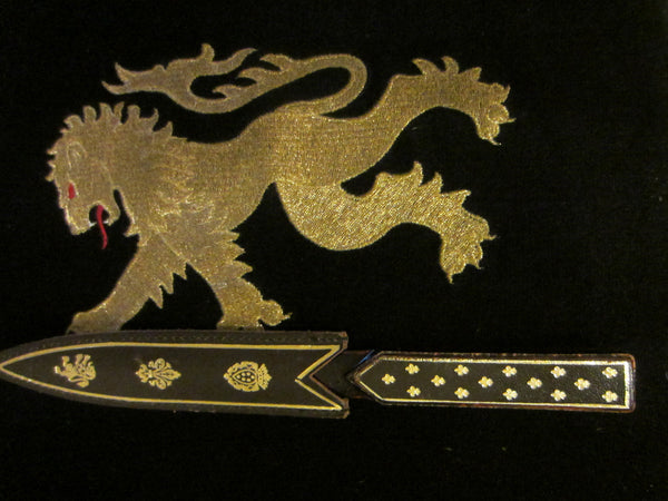 Italian Leather Handle Celluloid letter Opener Emboss Lion Shield Cover - Designer Unique Finds