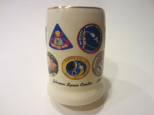 Johnson Space Center Houston Texas Hand Decorated Mug Various Apollo Medallions - Designer Unique Finds