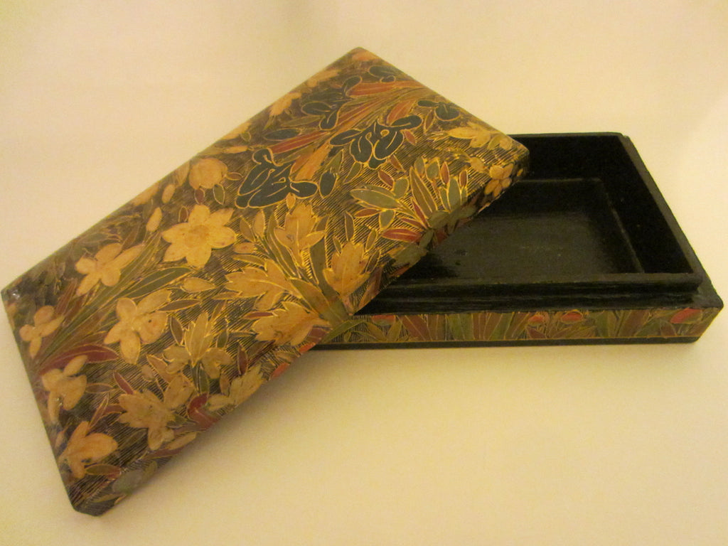 Papier Mache Lacquer Box Handmade In Kashmir India Exclusively For Kimcal - Designer Unique Finds   - 1