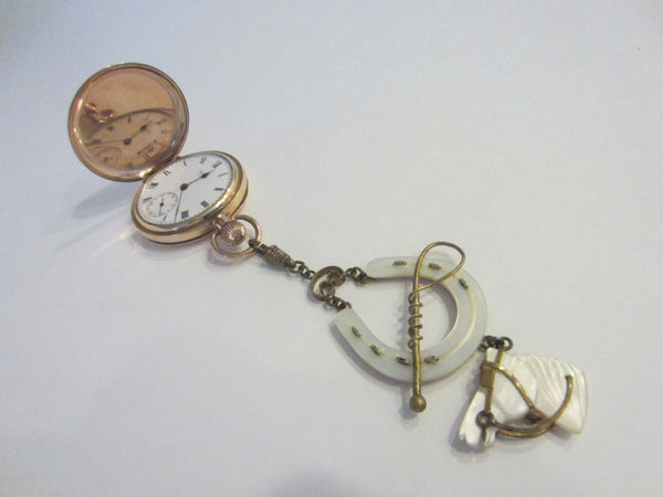 Equestrian Fob Watch Holder Mother Of Pearl Horse Head Pendant Brass Accent - Designer Unique Finds