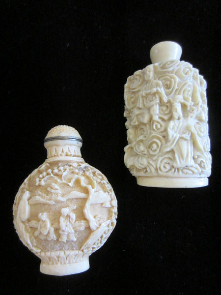 Asian Snuff Bottles Carving Figures Outdoor Scene Signed In Etch - Designer Unique Finds   - 2