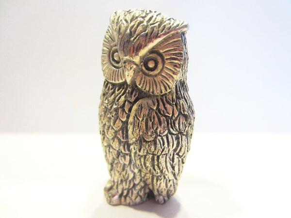 Peltro Italy Silver Miniature Owl - Designer Unique Finds   - 1