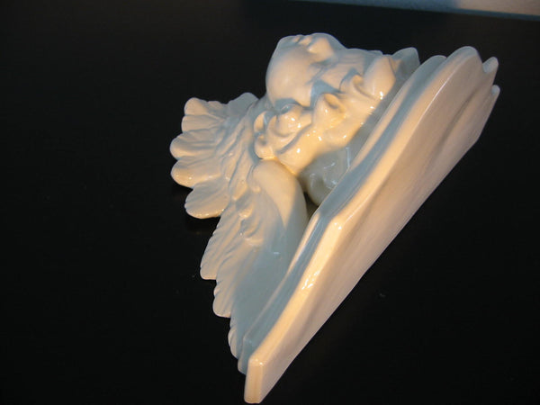 White Ceramic Majolica Angel Wall Sconce - Designer Unique Finds