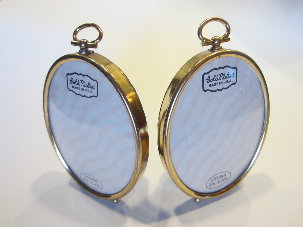Oval Picture Frames in Pair Gold Plated Made in U.S.A. with Self Stands - Designer Unique Finds   - 2