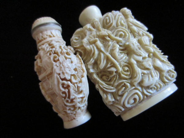Asian Snuff Bottles Carving Figures Outdoor Scene Signed In Etch - Designer Unique Finds   - 1