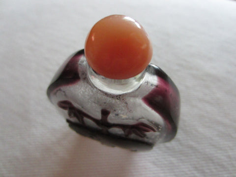 Chinese Snuff Bottle Glass On Glass Eggplant Panda Amber Agate Stopper - Designer Unique Finds   - 1