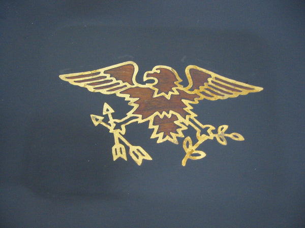 California Couroc Gift Ware Art Deco Eagle Decorated Lacquered Wood Trays - Designer Unique Finds   - 1