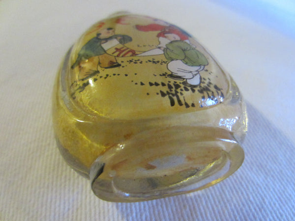 Interior Painted Glass Snuff Bottle Figures And Rabbits With Signature - Designer Unique Finds