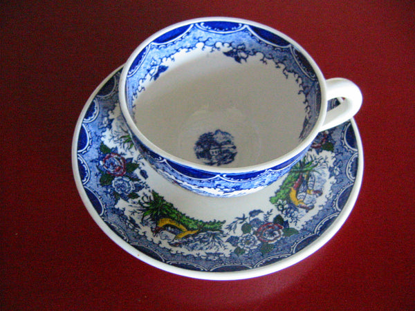 Scenic Tea Cup Saucer Marked PV France Quimper Style - Designer Unique Finds