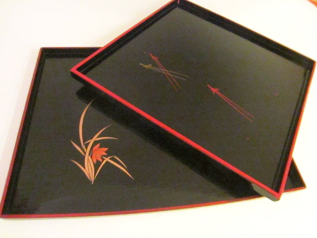 Black Tray Set Red Boarder Hand Painted Flowers Made in Japan - Designer Unique Finds