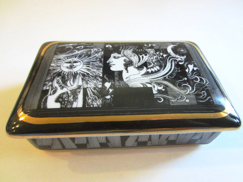 Andre Szasz Hollohaza Hungary Graphic Signed Porcelain Box - Designer Unique Finds