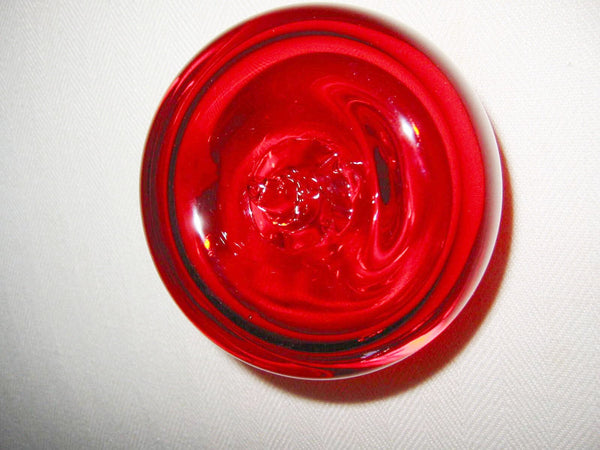Blenko Style Red Glass Stem Apple Paperweight