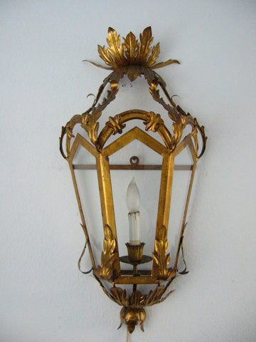 Continental Tole Gilt Decorated Wall Lantern - Designer Unique Finds