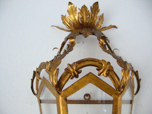 Continental Tole Gilt Decorated Wall Lantern - Designer Unique Finds   - 2