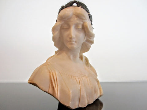 Antonio Frilli Alabster Portrait Bust On Marble Stand